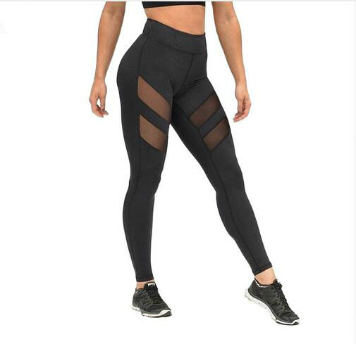 harajuku mesh splice fitness slim black sport leggings running legging gym leggings