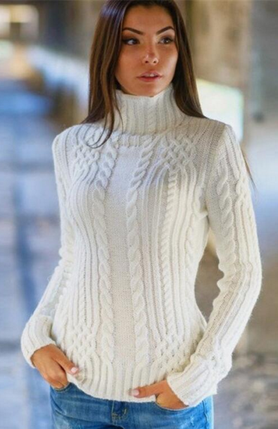 Sexy High-neck Solid Slim Pullover Short Sweater