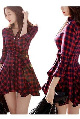 Korean version of Slim thin waist temperament fall and winter red plaid long-sleeved dress high street dresses