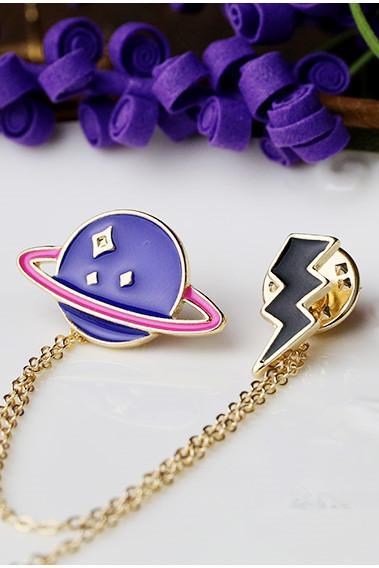 Planet Brooch collar cartoon Japanese Harajuku soft sister shirt hanging chain
