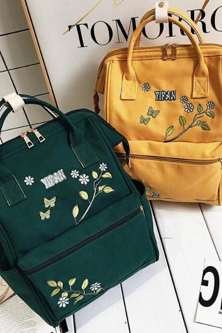 Cute Vintage Flower Embroidered Backpack