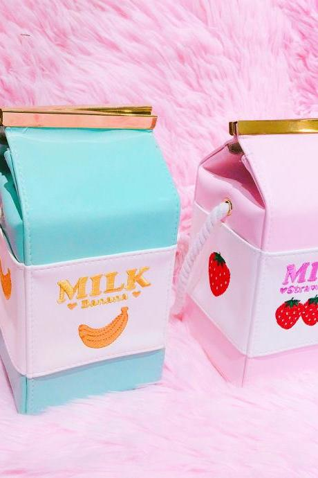 BANANA milk / STRAWBERRY MILK BOX SHOULDER BAG