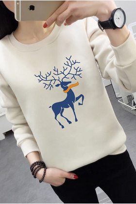 sika deer embroidery hoodie sweater