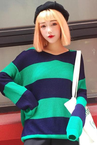 Striped Knitted Crew Neck Sweater