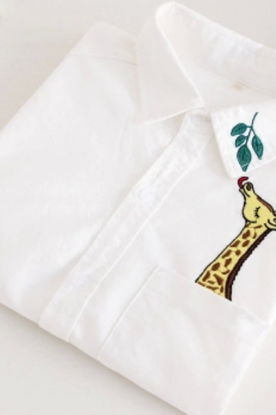 Giraffe eat leaves embroidery blouse shirt