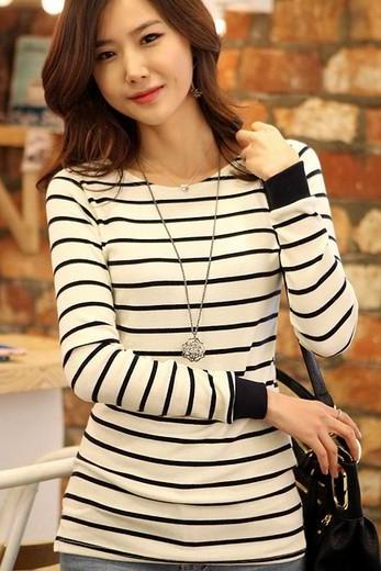 Lovely Womens Casual Long Sleeve Stripe sweater