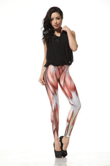 Muscle Print Leggings Pants