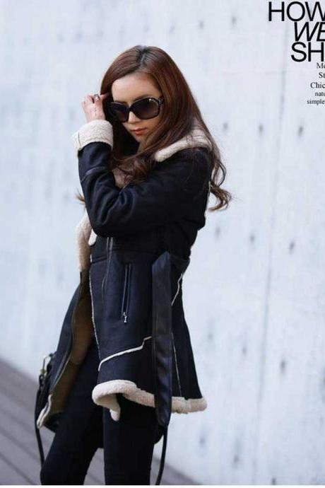 Blue Fall and Winter Belted Suede Leather Jacket Winter Coat
