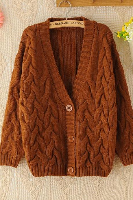 Retro Big Cable Knit Batwing Loose CARDIGAN Sweater