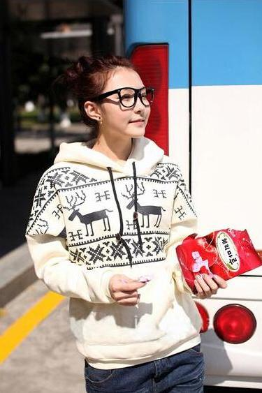 Long Sleeve Christmas Snow Deer Hoodie Sweater Coat Outerwear