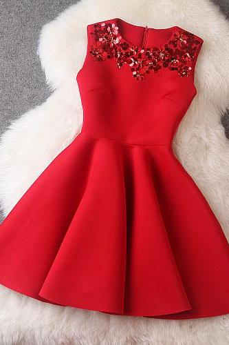 Red color Luxury Designer Sequined Sleeveless Dress For Autumn&Winter
