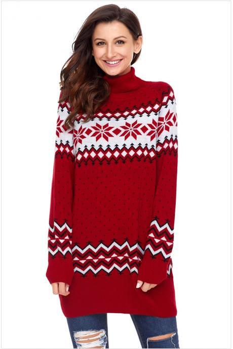 Red color New Turtleneck Winter Christmas Snow Sweaters