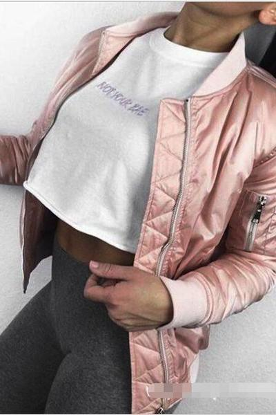 Pink Satin fleece jacket casual cotton thick jacket