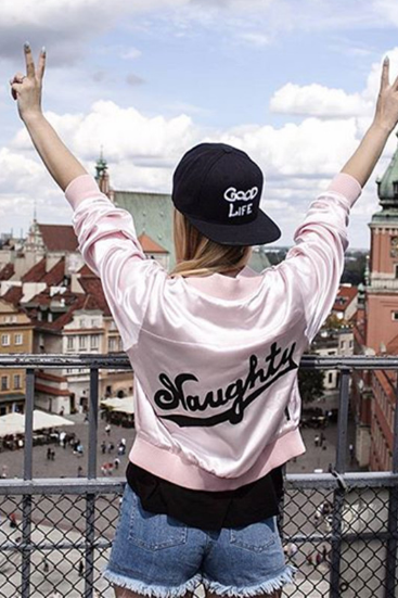 pink letters printed long-sleeved jacket zipper jacket