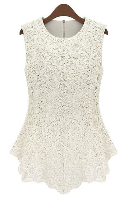 White Lace Embossing Female Tees For Lady