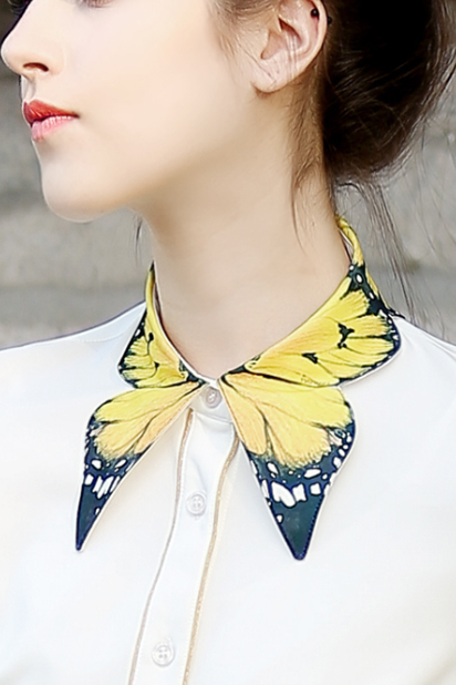 Retro cute Butterfly collar blouse shirt
