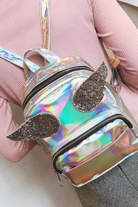 Angel Wings Hologram Backpack Bags
