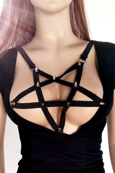 Rivet strap bra black wire harness