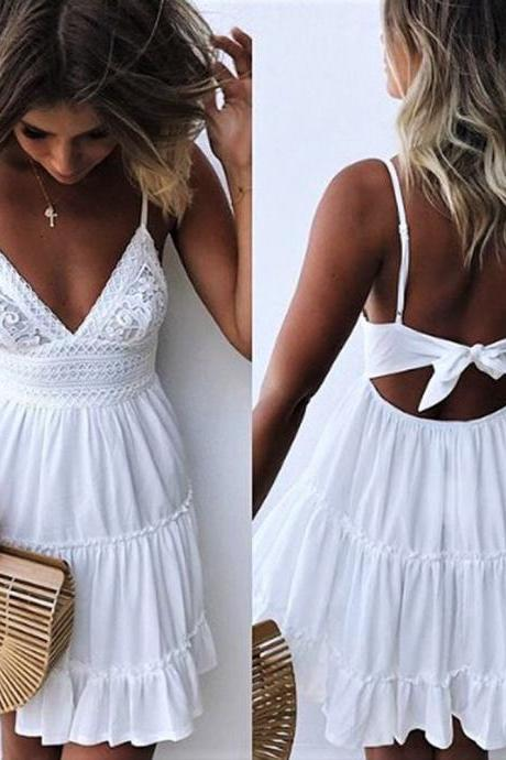 White Ruffle Lace V Neckline Cami Sun Dress with Back Tie