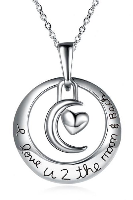 Moon and Heart Pendant Necklace Sterling Silver