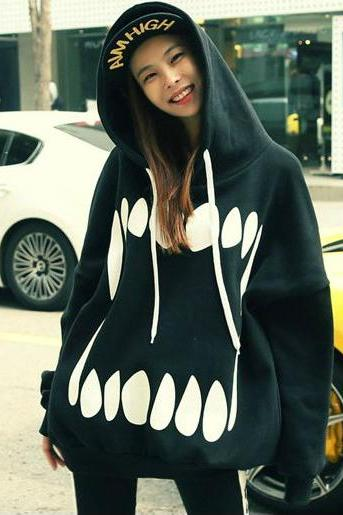 Harajuku cute teeth hoodies
