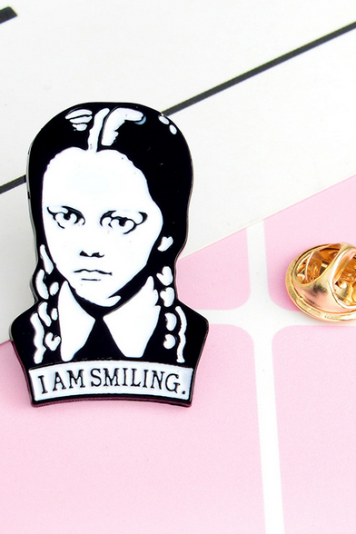 Wednesday Addams I AM SMILING brooch