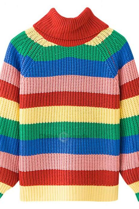 Turtle Neck Long Sleeve Colorful Stripe Women Pullover Sweater