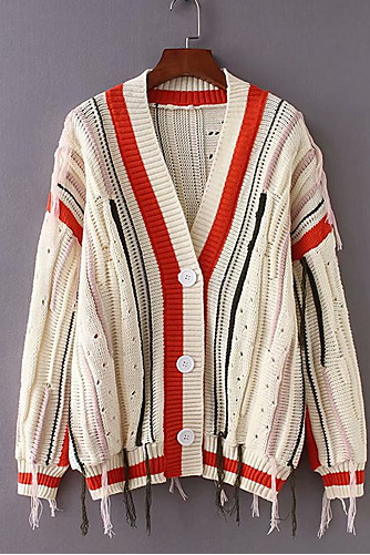 striped v neck women's work long sleeve loose cardigan