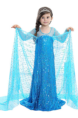 Princess Fairytale Elsa Dress Kid's Dresses Christmas Masquerade Festival / Holiday Halloween Costumes Outfits Blue Sequin Adorable