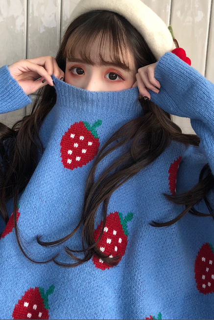 Strawberry print thick warm sweater