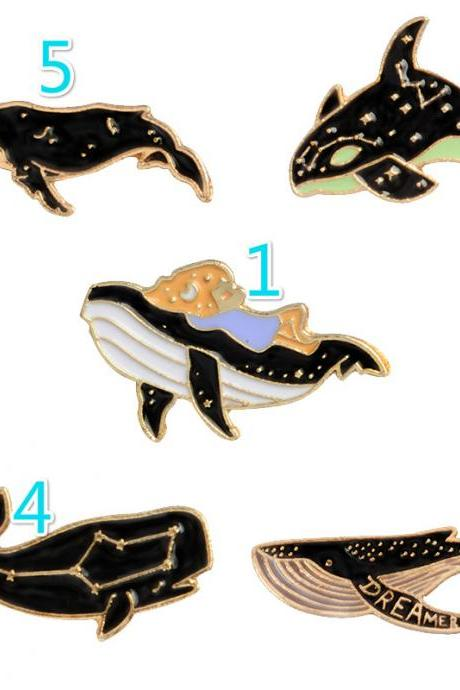 Lovely whales brooch pins