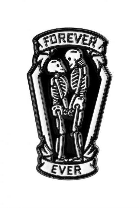 Harajuku style'FOREVER EVER' skeleton lovers Enamel pins brooch
