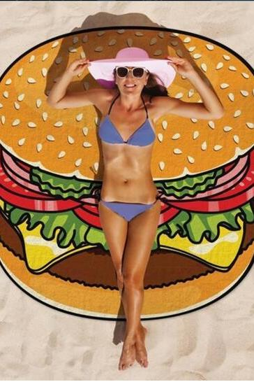 Bohemia Style Hamburger Pizza donut 150cm Printed Summer Bath Beach Round Towels
