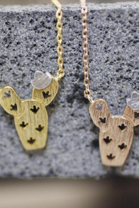 Cut out Cactus Necklace, Cacti Tree Pendant necklaces, saguaro cactus necklace