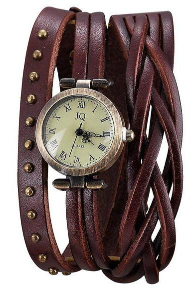 fashion Dark Brown Leather Band Watch