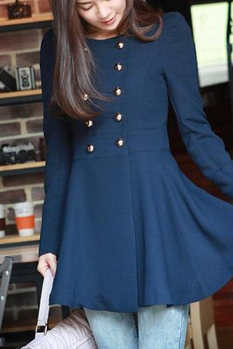 2015 Hot sale Fashion Solid Color Double-Breasted Round Neck Trance Coat