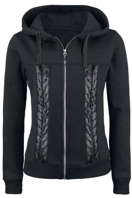 Punk style PU stitching rope wear Hoodies
