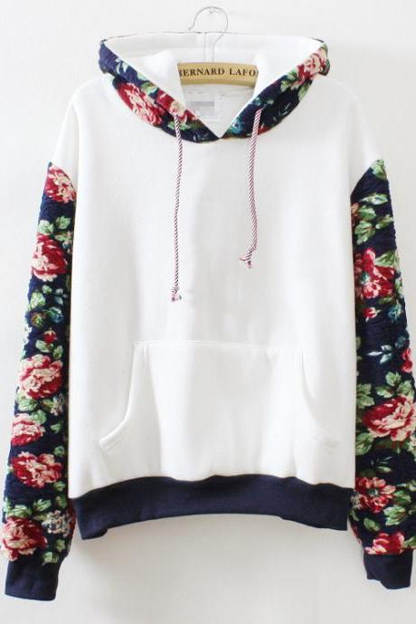 Hooded Floral Sweater