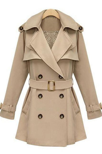 Spring Autumn Long Sleeve Trench Coat For Ol - Apricot