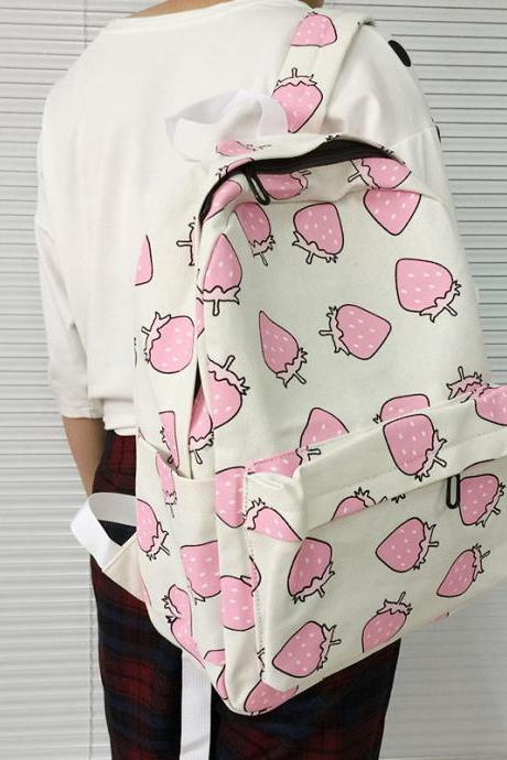 Pastel Strawberry Print Backpack