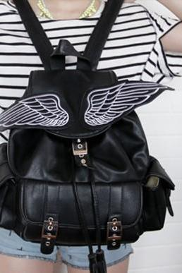 Harajuku Wing Black Backpack