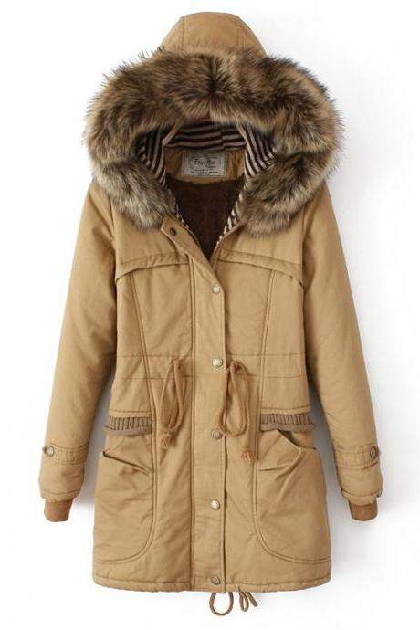 Fur Hooded Parka Coat with Drawstring