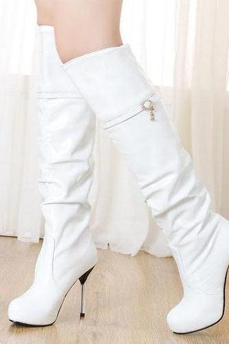 Over The Knee Cavalier White Winter Boots
