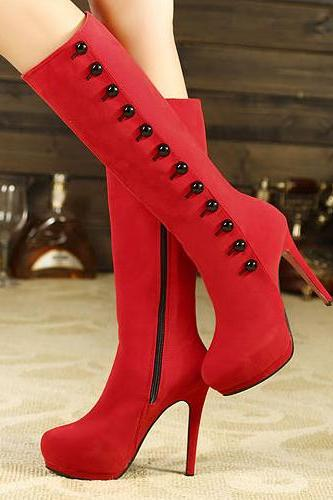 Spring Autumn Round Toe Zipper Stiletto Platform High Heel Pu Knee High Martens Boots