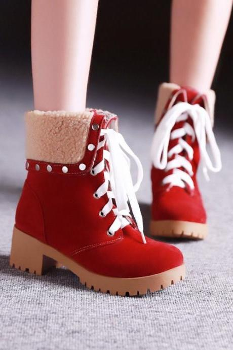 Red Suede Lace-Up with Studded High Top Fleece Ankle Boots, Snow Boots