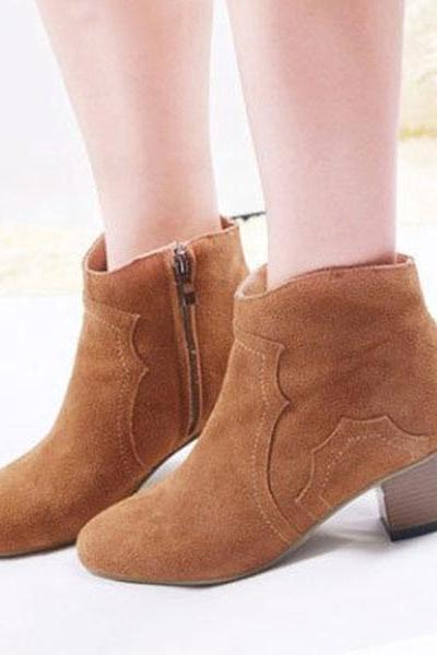 Nubuck Leather Ankle Boots/Martin Boots