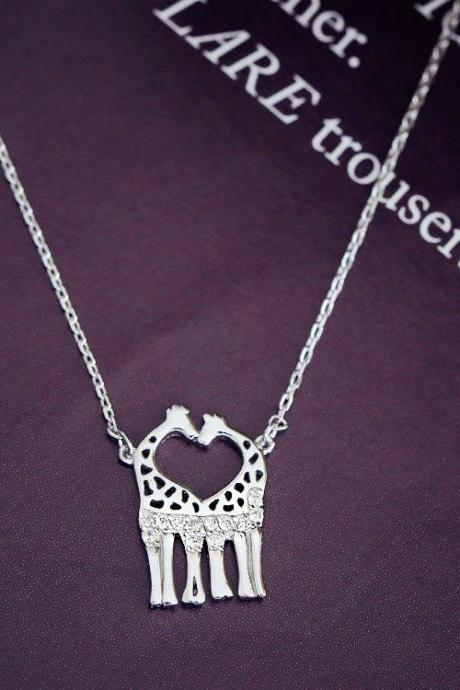 2015 Hot sale 925 silver pendants lovely animals giraffe clavicle double giraffe micro chain necklace set necklaces