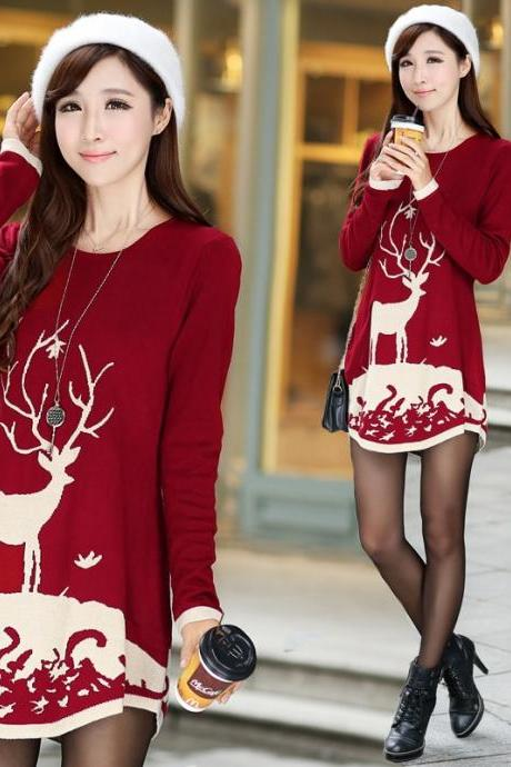 2015 winter chrismas Deer Print Curved Hem Long Sweater