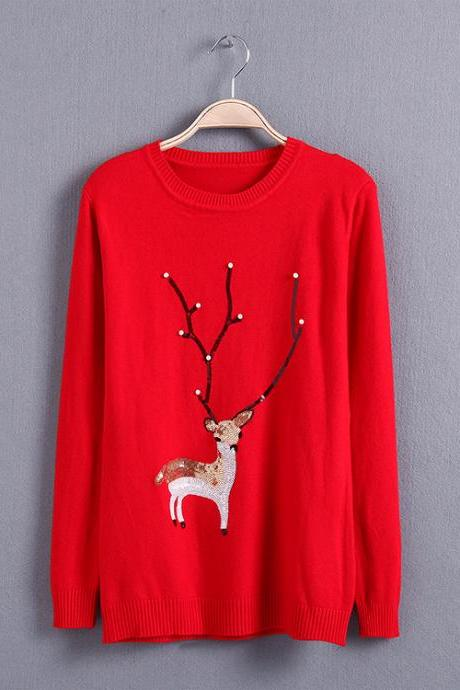 Long Sleeve Sweater Featuring Embroidered Reindeer with Sequins - White, Grey, Red, Yellow, Navy blue