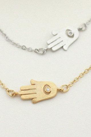Hamsa Hand Necklace Offset To The Side Hamsa Sideway Hamsa